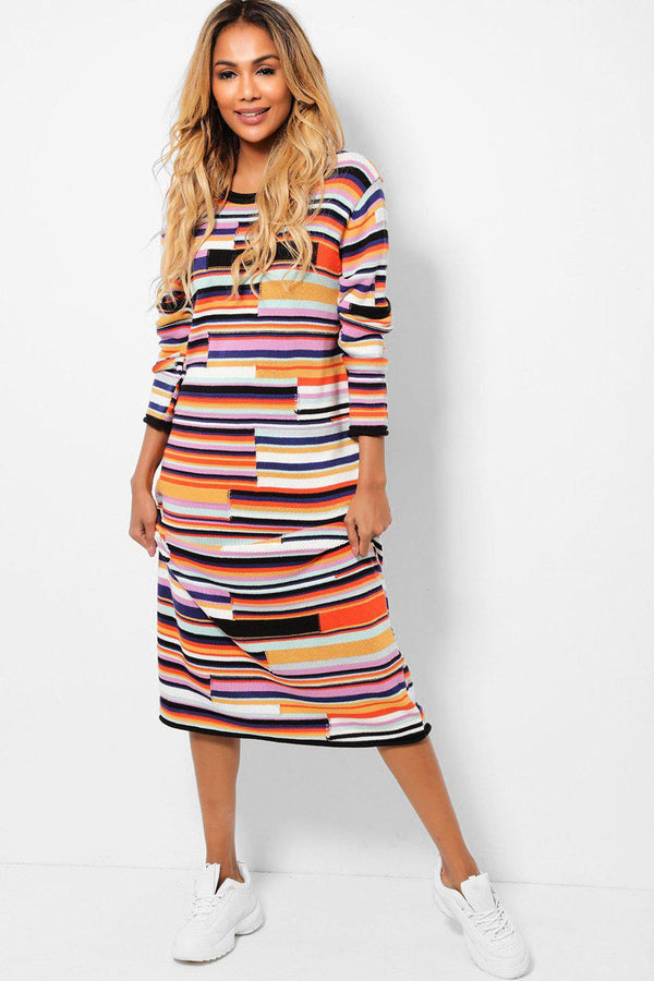 Multi Colour Stripes Maxi Knitted Dress-SinglePrice