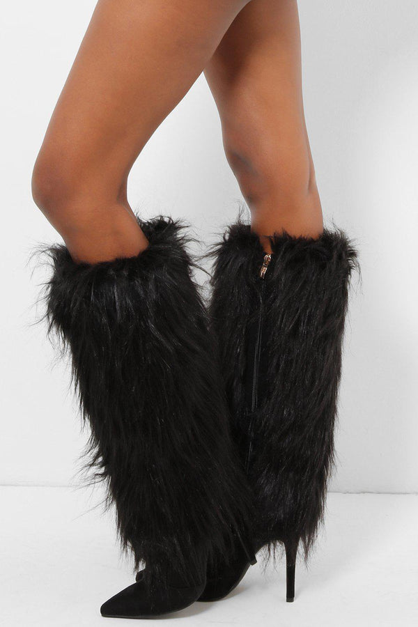 Black Tall Faux Fur Calf Stiletto Boots-SinglePrice
