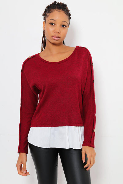 Wooden Buttons Sleeve Wine Smart Jumper