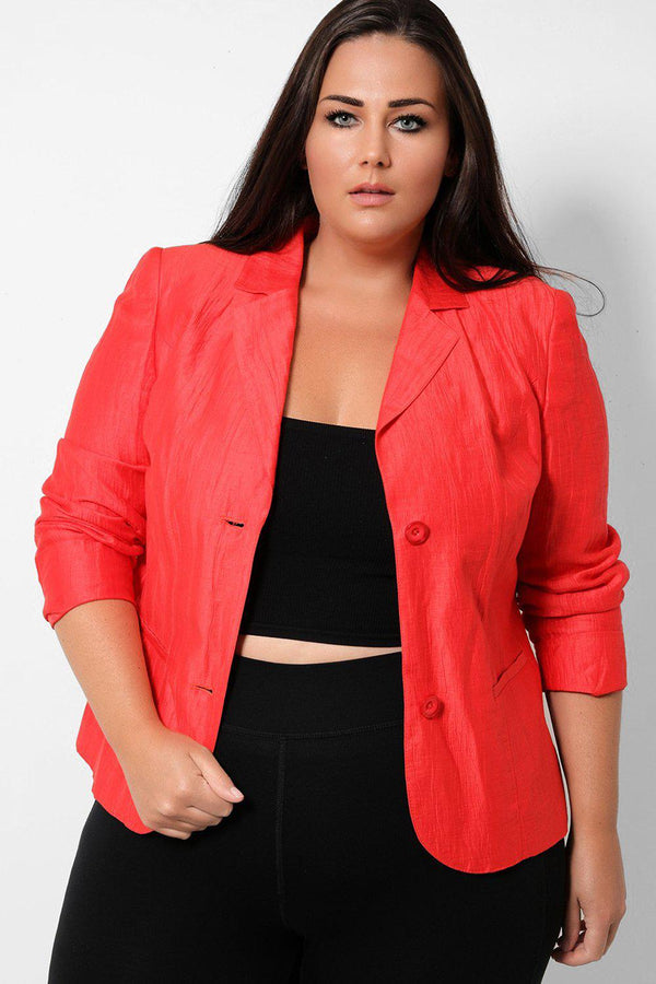 Red Crushed Satin Single Breasted Padded Shoulders Blazer - SinglePrice