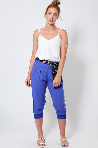 Blue Cropped Harem Cotton Trousers-SinglePrice
