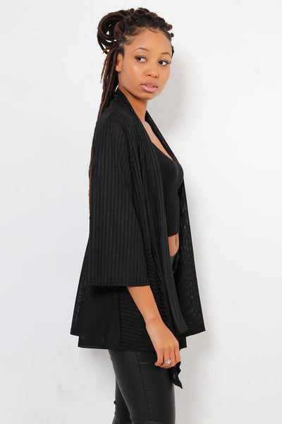 Dipped Flared Hem Open Front Thin Black Blazer