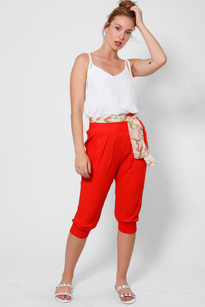 Red Cropped Harem Cotton Trousers-SinglePrice