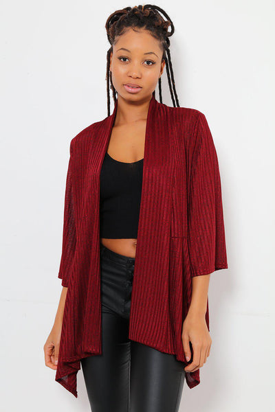 Dipped Flared Hem Open Front Thin Maroon Blazer