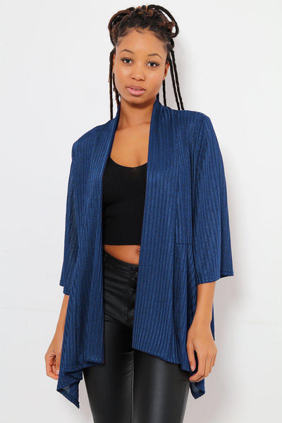 Dipped Flared Hem Open Front Thin Navy Blazer