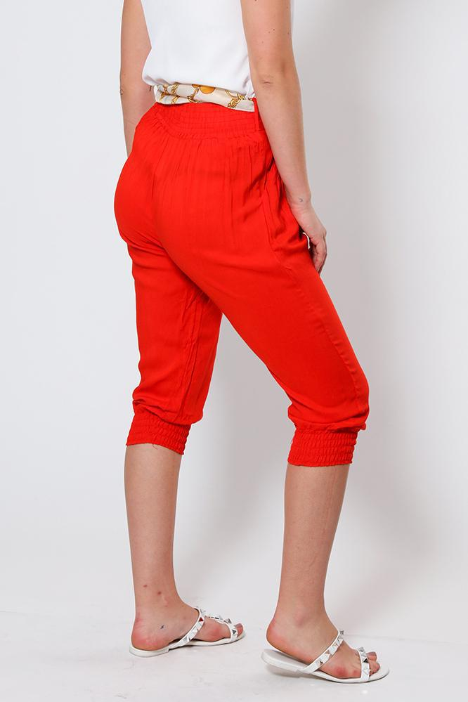 Red Cropped Harem Cotton Trousers - SinglePrice