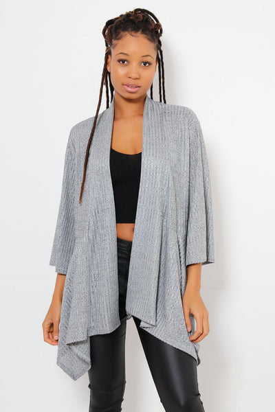 Dipped Flared Hem Open Front Thin Grey Blazer