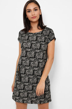 Monochrome Print Super Soft Zipper Dress - SinglePrice