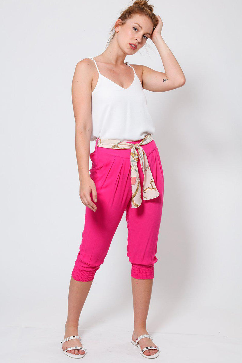 Pink Cropped Harem Cotton Trousers-SinglePrice