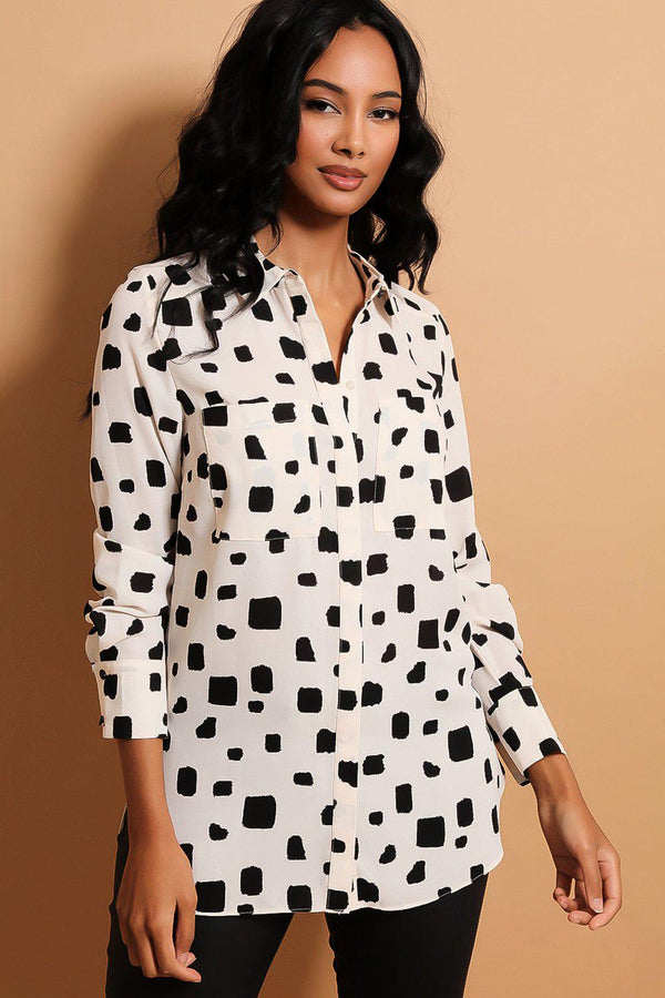 Cream Black Pixelated Print Shirt