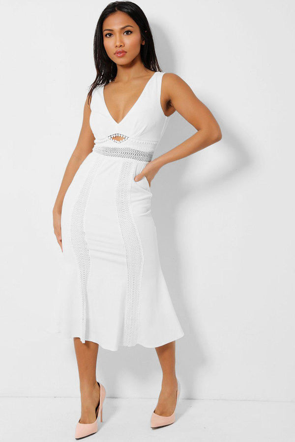 White Crochet Lace Panels V-Neck Midi Fishtail Dress - SinglePrice