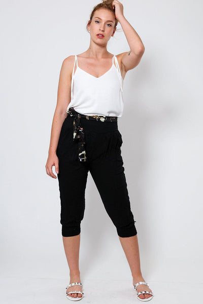 Black Cropped Harem Cotton Trousers-SinglePrice