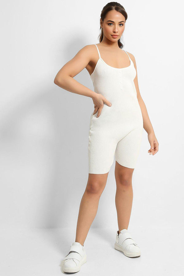 White Soft Rib Knit Button Details Cami Romper - SinglePrice