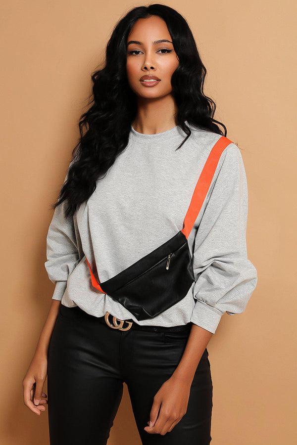 Grey Baggy Sweatshirt With Bumbag