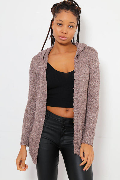 Boucle Sequinned Knit Brown Cardigan-SinglePrice