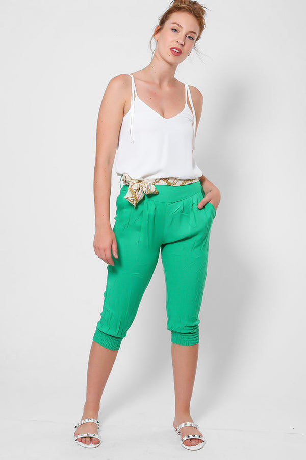 Green Cropped Harem Cotton Trousers-SinglePrice