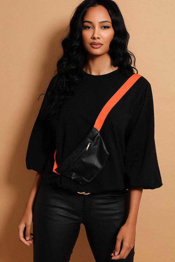 Black Baggy Sweatshirt With Bumbag