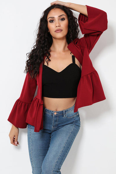 Frill Sleeve And Hem Open Front Blazer-SinglePrice