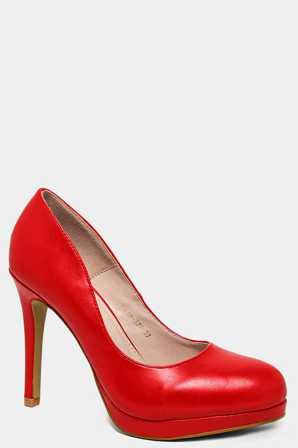 Red Vegan Leather Platform High Heels - SinglePrice