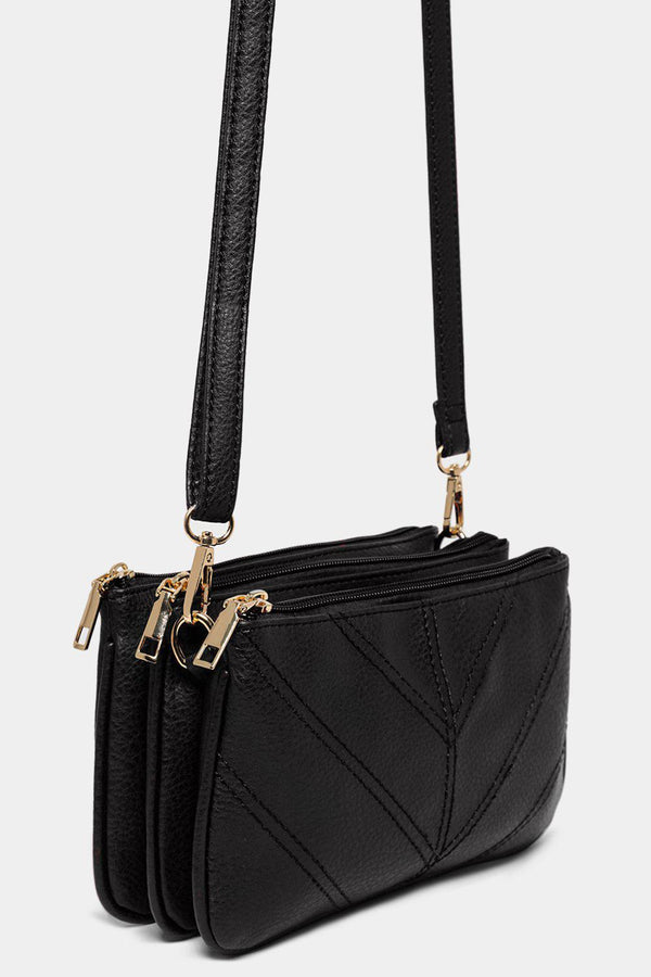 Black Chevron Seams Triple Compartment Shoulder Bag - SinglePrice