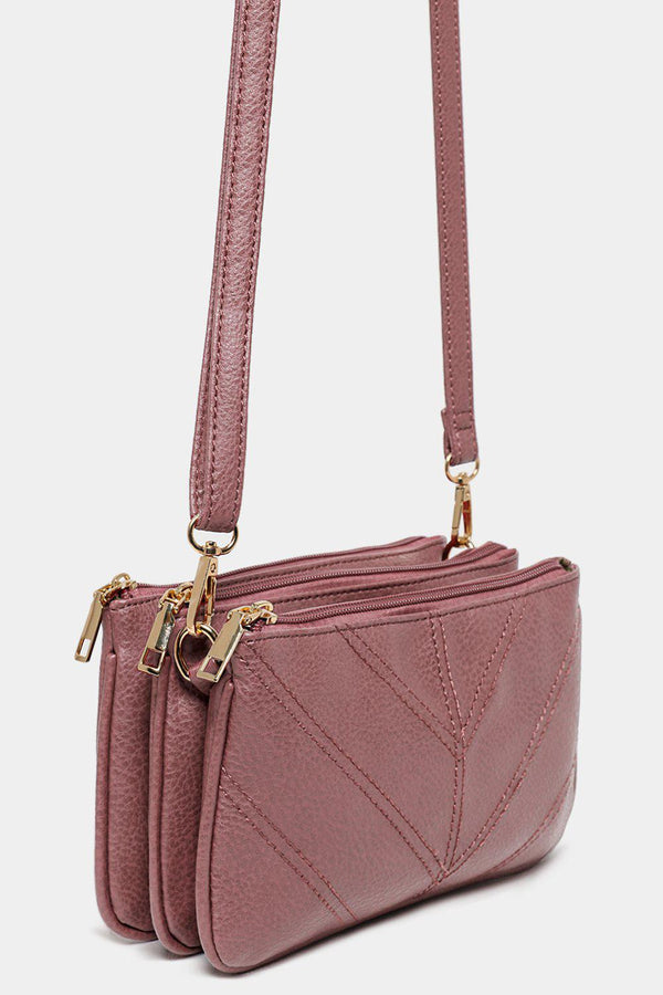 Pink Chevron Seams Triple Compartment Shoulder Bag-SinglePrice