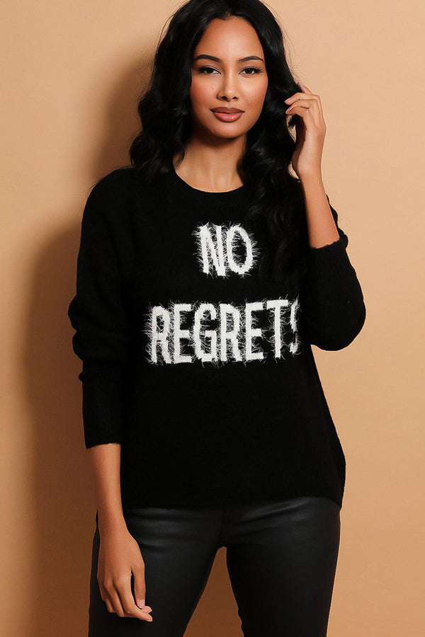 Black No Regrets Slogan Soft Knit Pullover