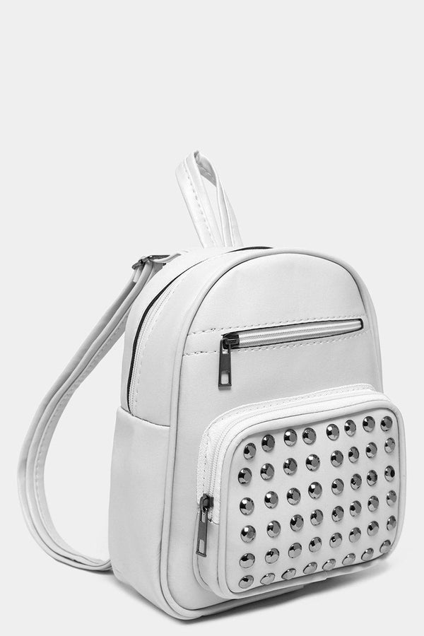 White Studded Mini Backpack With Pom Pom Charm-SinglePrice