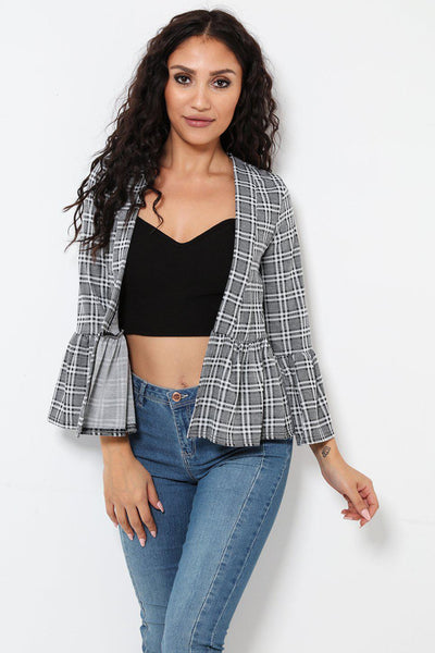 Black And White Checked Frill Sleeve And Hem Open Front Blazer-SinglePrice
