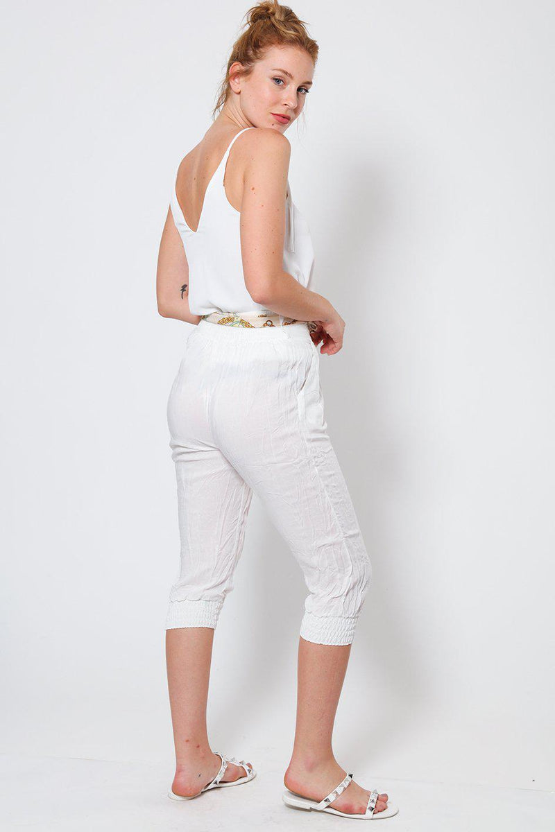 White Cropped Harem Cotton Trousers - SinglePrice