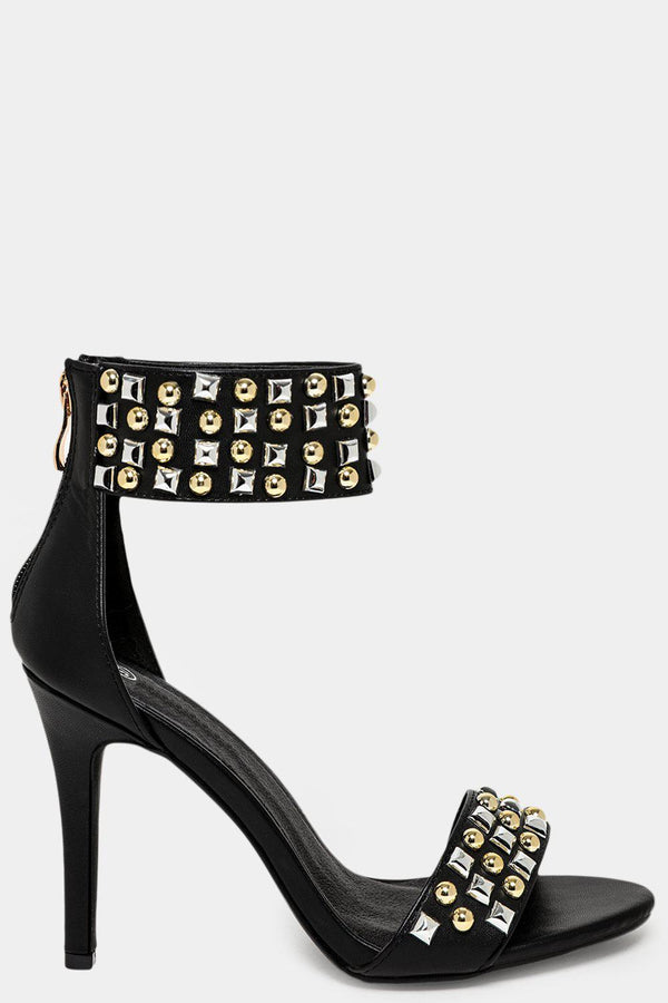 Black Studs Embellished Vegan Leather Barely There Heels-SinglePrice