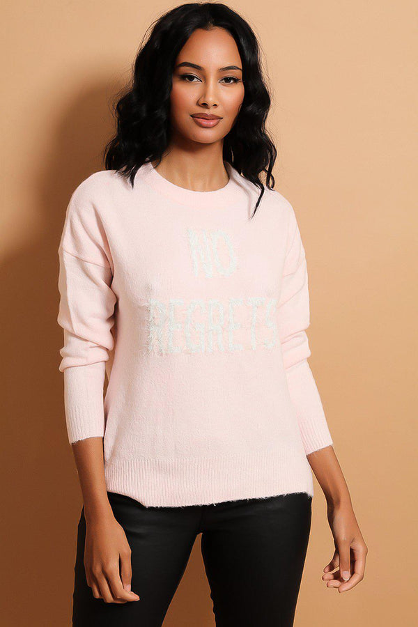 Pink No Regrets Slogan Soft Knit Pullover