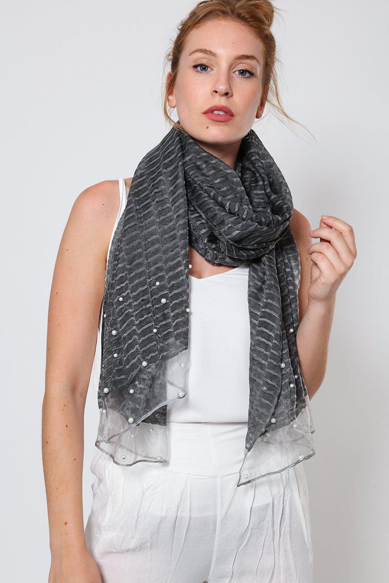 Pearl Beads Embellished Black Organza Scarf-SinglePrice
