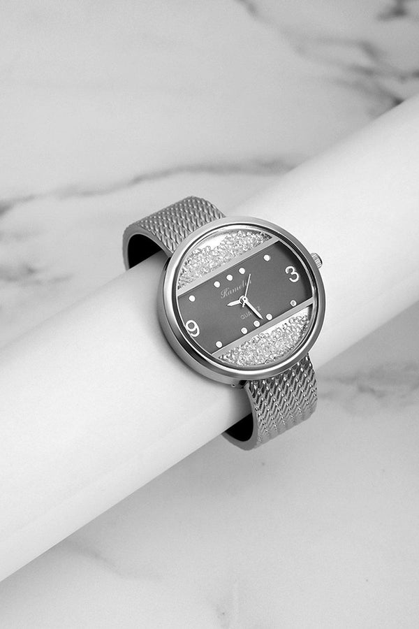 Silver Lose Crystal Panels Black Dial Watch-SinglePrice