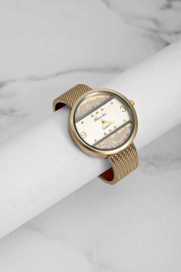 Gold Lose Crystal Panels White Dial Watch-SinglePrice