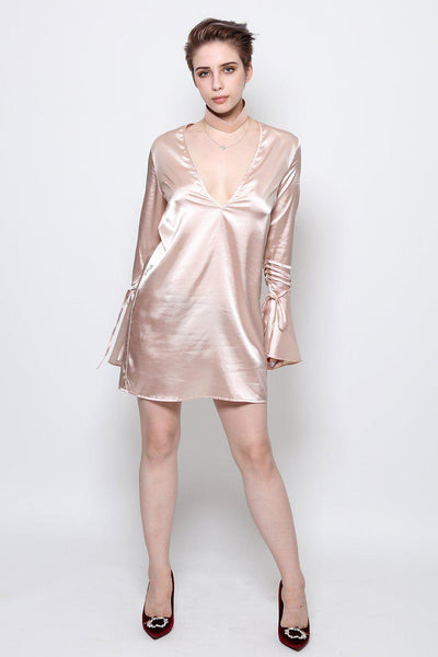 Nude Satin Chocker Slip Dress-SinglePrice
