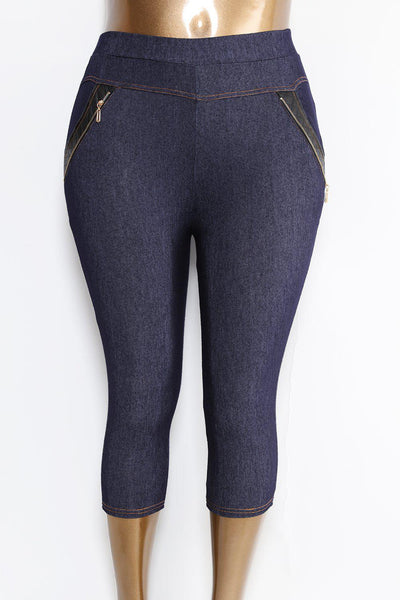 PVC And Zip Detail Cropped Blue Jeggings-SinglePrice
