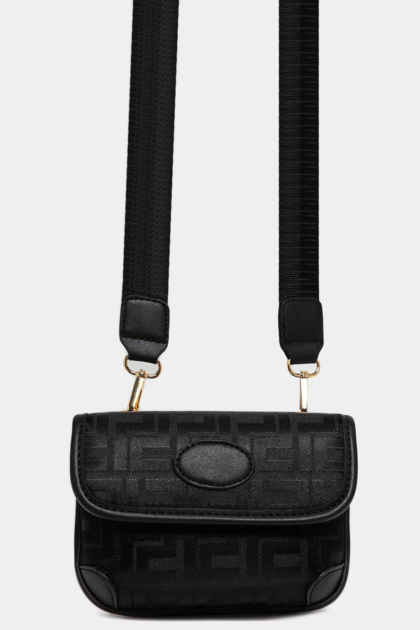 Black Greek Key Print Multiwear Bumbag Shoulder Bag - SinglePrice