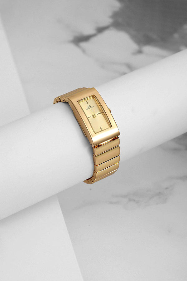 Gold Rectangular Dial Watch-SinglePrice