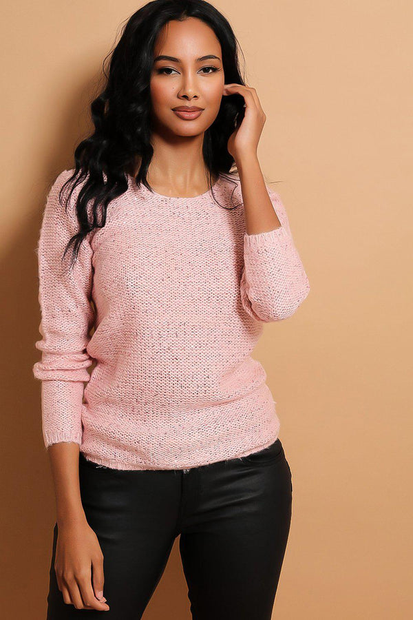 Pink Sequins Embellished Purl Knit Pullover - SinglePrice