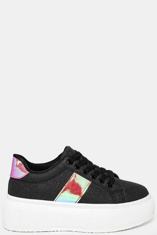 Holographic Details Black Shimmer Chunky Trainers-SinglePrice