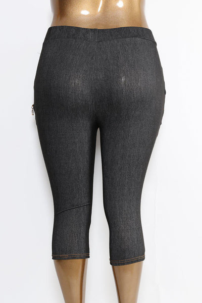 PVC And Zip Detail Cropped Black Jeggings-SinglePrice