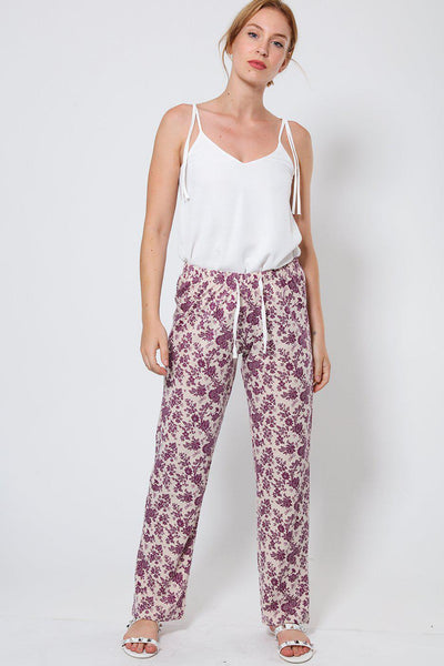 Floral Print Beige Leisure Trousers-SinglePrice