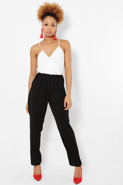 Black And White Cami Jumpsuit-SinglePrice