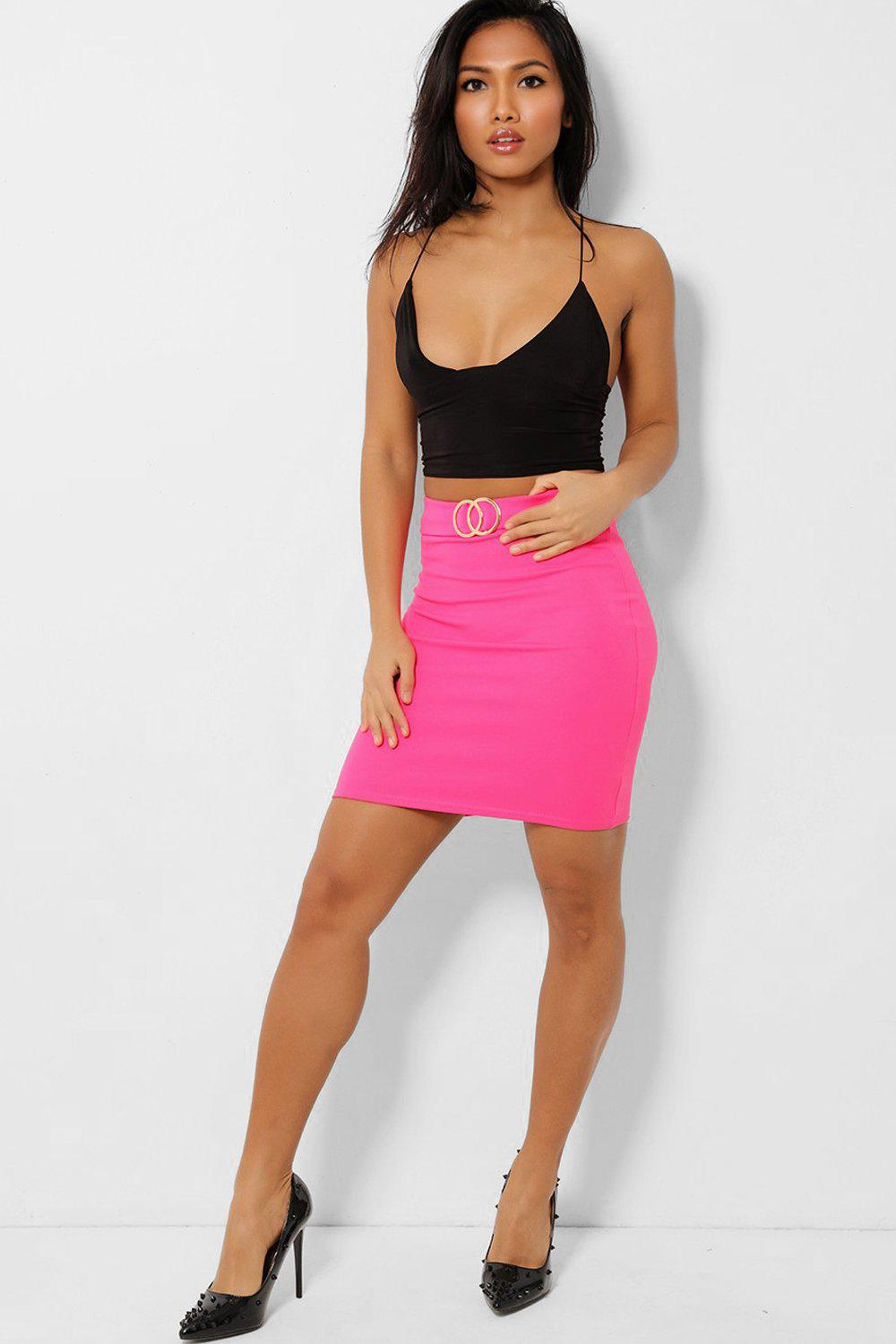 Double Circle Buckle Hot Pink Mini Skirt - SinglePrice