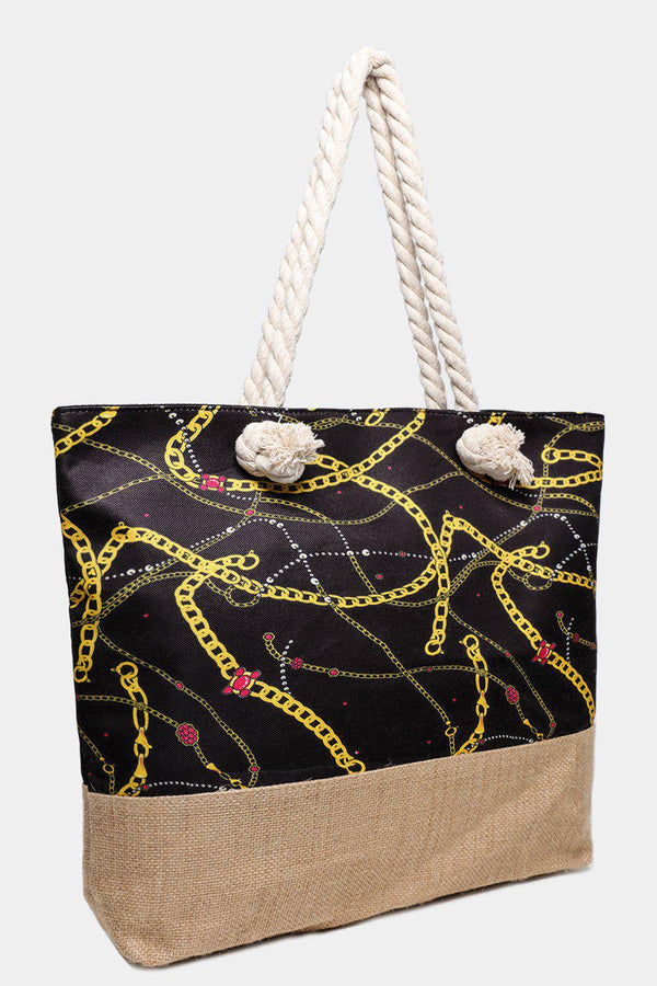 Chain Print Black Jute Beach Bag-SinglePrice