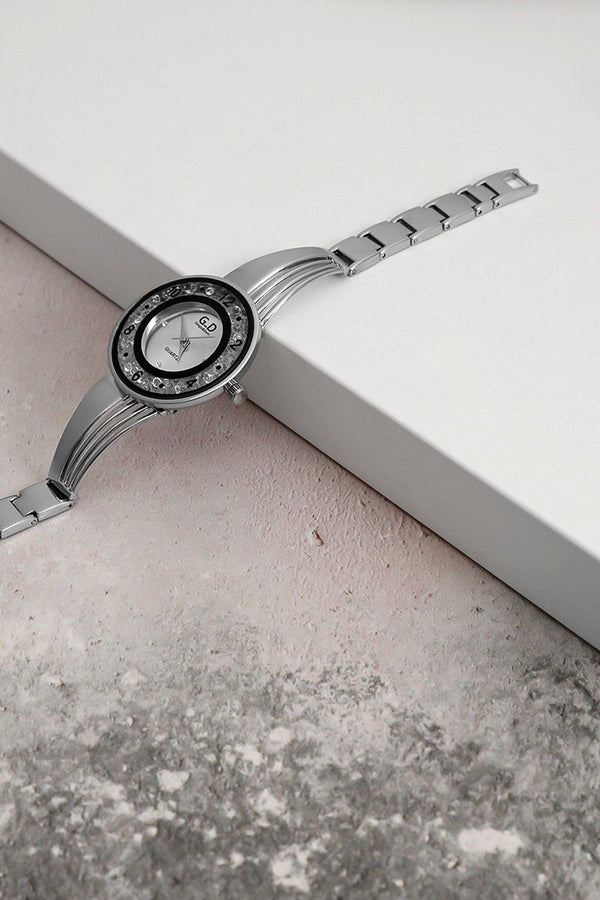 Silver Lose Crystals Circle Watch-SinglePrice
