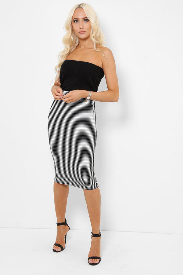White Pencil Midi Skirt In Black Stripes-SinglePrice