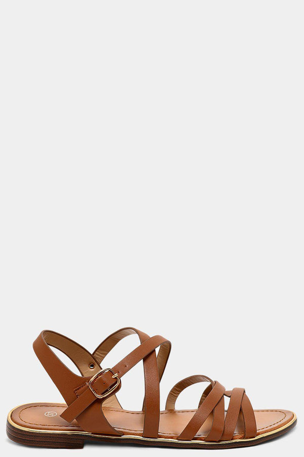 Camel Thin Vegan Leather Multi-Strap Sandals - SinglePrice