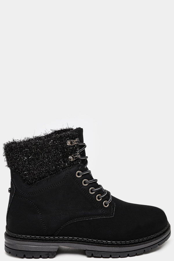 Black Tinsel Top Vegan Leather Ankle Boots - SinglePrice