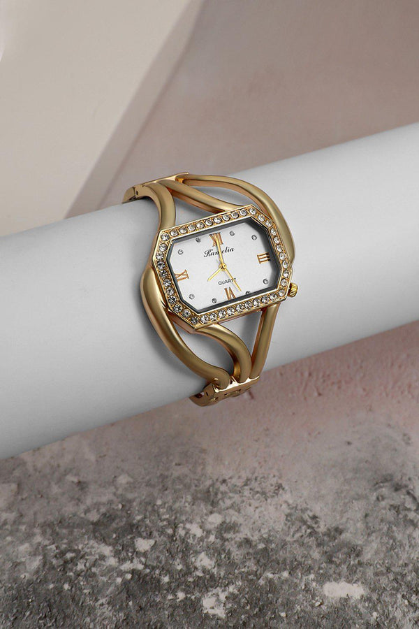 Gold Diamond Frame White Dial Watch-SinglePrice